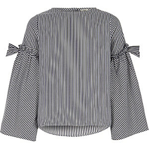 Girls black stripe bow bell sleeve top
