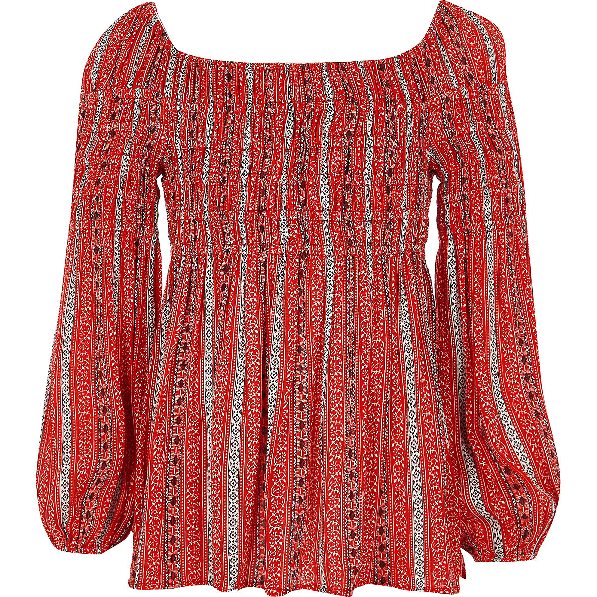 Girls red tile print shirred bardot top
