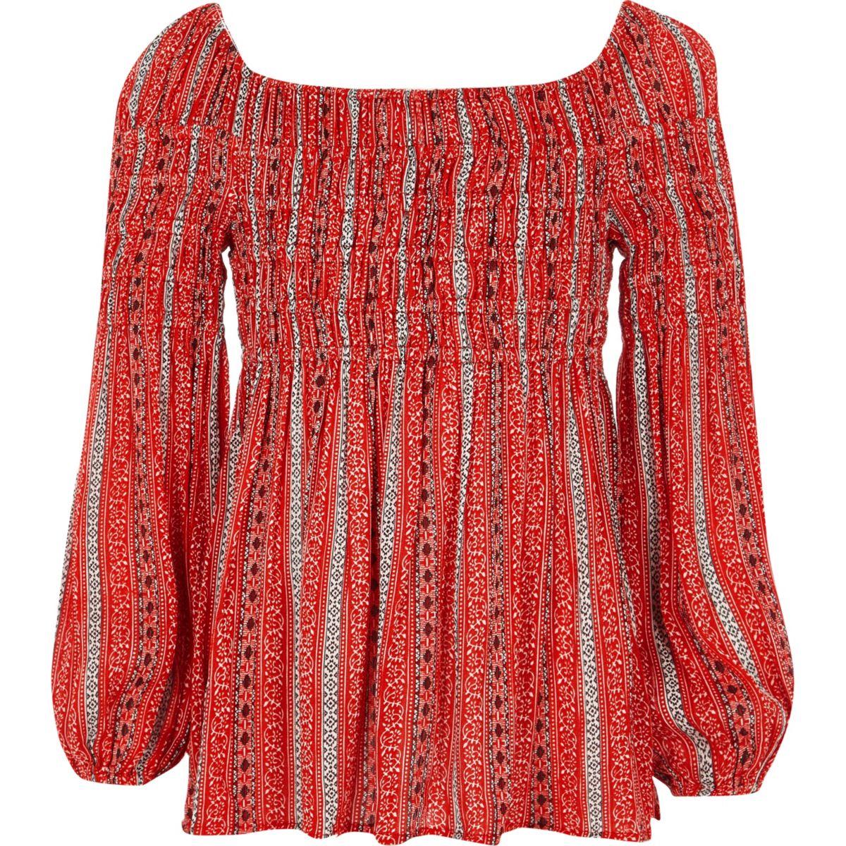 Girls red tile print shirred bardot top