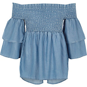 Girls blue denim shirred bardot frill top