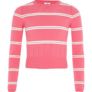 Girls pink stripe fitted long sleeve jumper