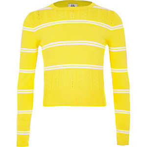 Girls yellow stripe fitted long sleeve jumper