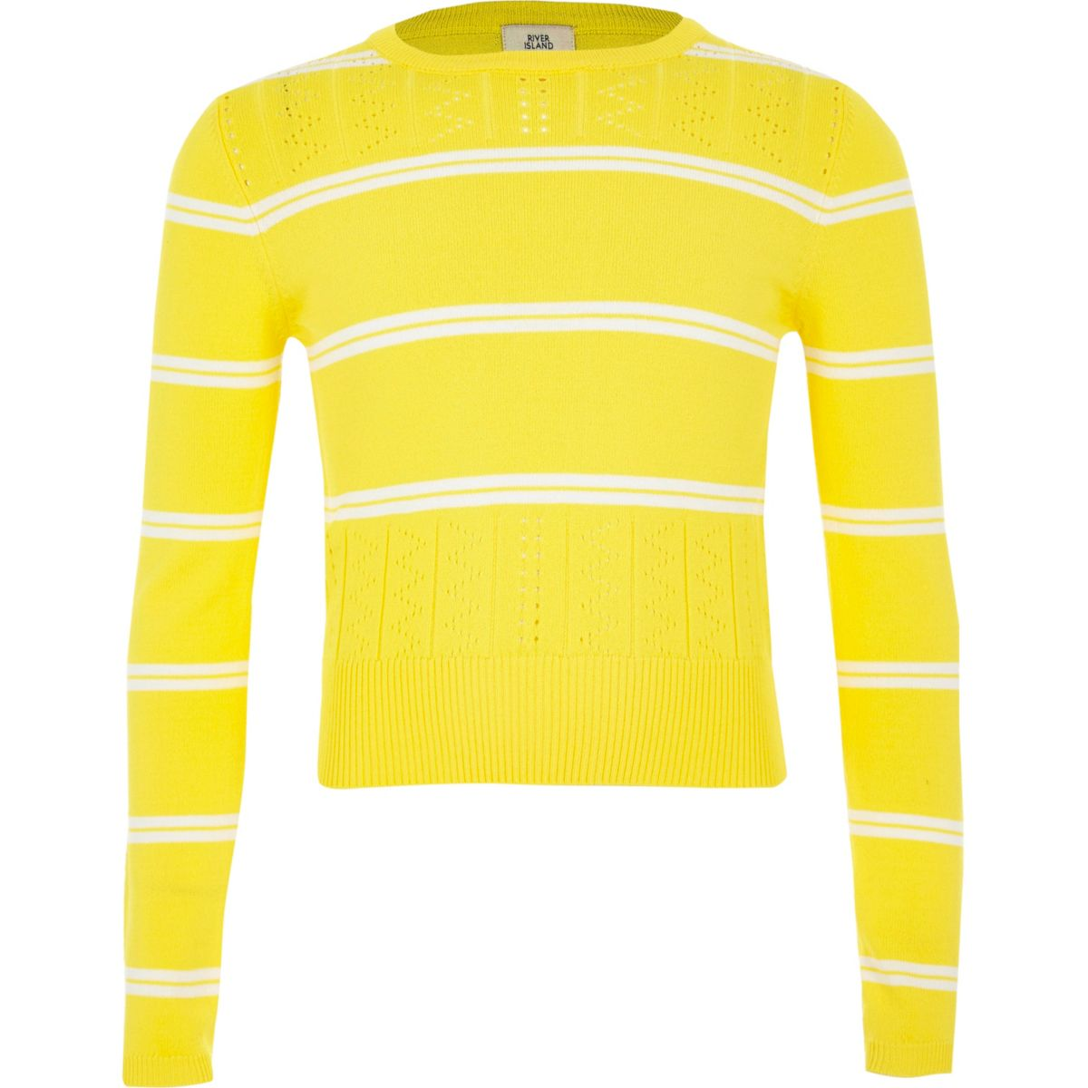 Girls yellow stripe fitted long sleeve sweater