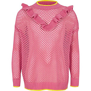 Girls pink open knit frill jumper