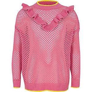 Roze ajourpullover met ruches voor meisjes