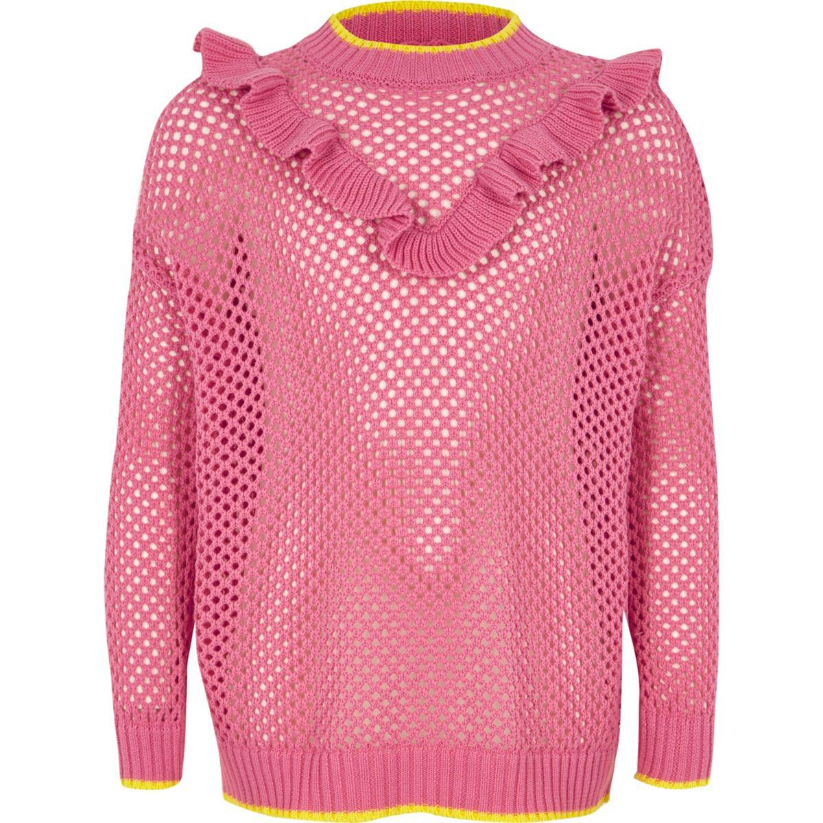 Girls pink open knit frill jumper