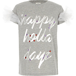 Girls grey ' holla dayz' Christmas T-shirt