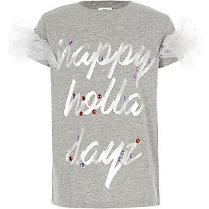T-shirt de Noël «holla dayz» gris pour fille