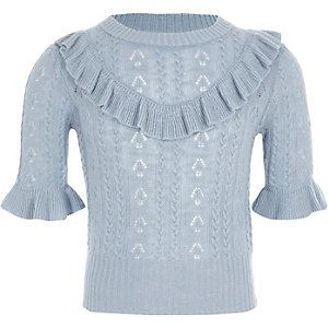 Girls light blue frill pointelle knit jumper