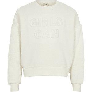 Girls white 'girls can' faux fur sweatshirt