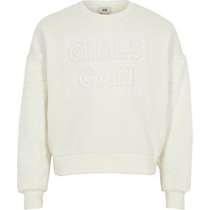 Girls white 'girls can' faux fur sweatshirt