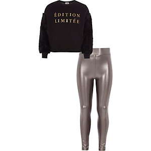 Girls black faux fur sleeve sweatshirt outfit