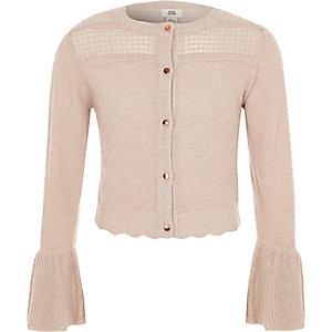 Girls light pink lurex stitch cardigan