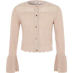 Girls light pink lurex stitch cardigan