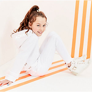 Girls white RI Active 'achieve' joggers