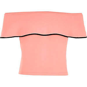 Roze gelaagde gebreide crop top met bardothalslijn voor meisjes