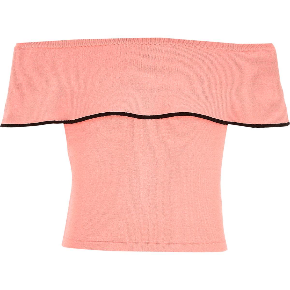 Crop top en maille rose à encolure Bardot et volant pour fille