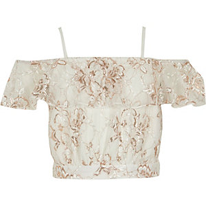 Girls cream lace bardot cami crop top