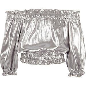 Girls silver metallic bardot top