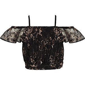 Crop top Bardot en dentelle noir à fines bretelles pour fille