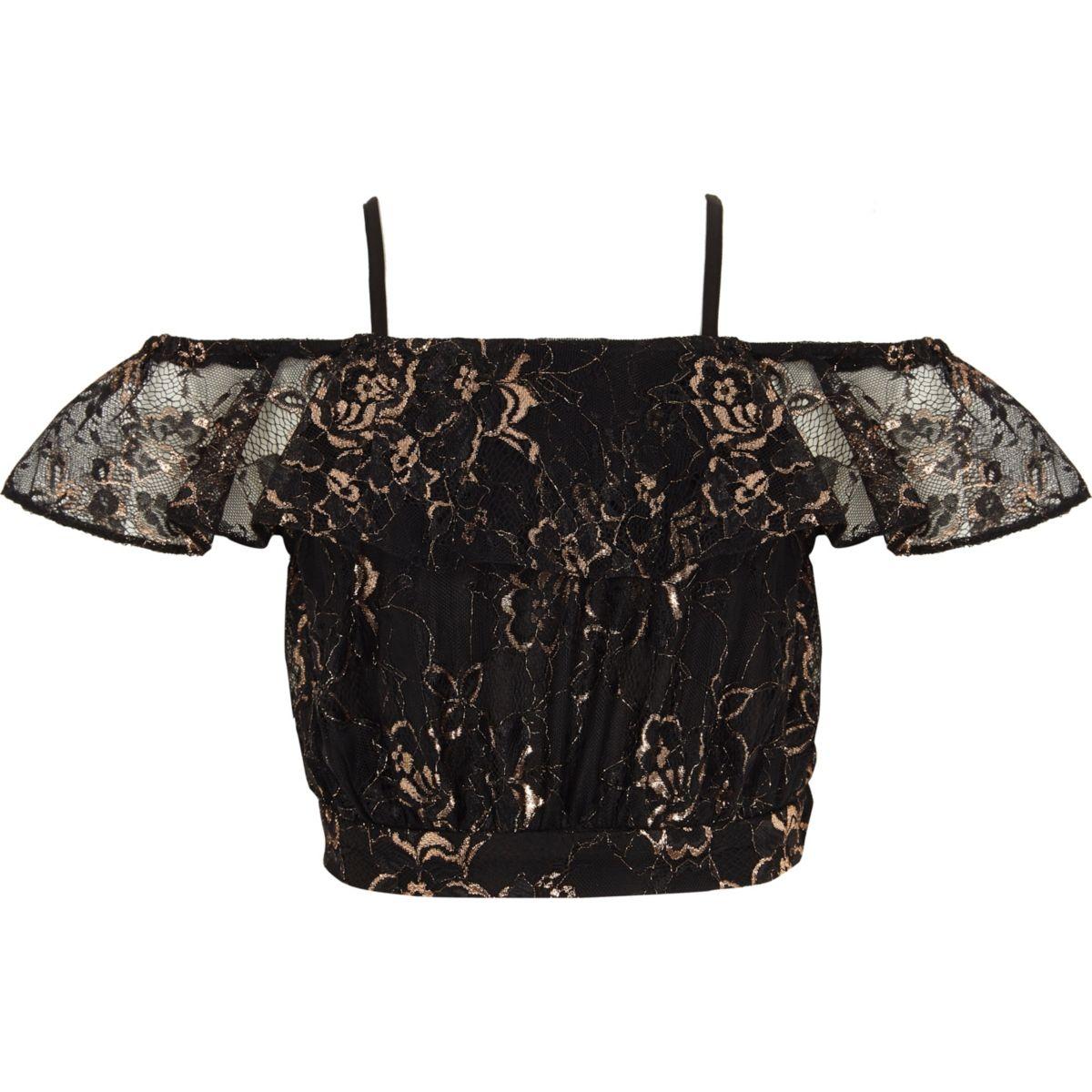 Girls black lace bardot cami crop top