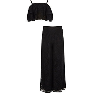 Girls black lace frill palazzo outfit