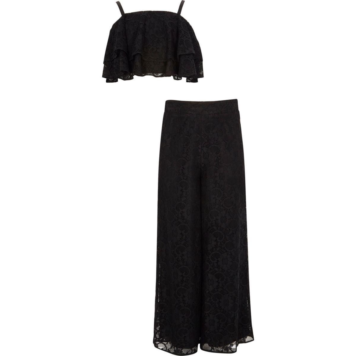 Ensemble avec pantalon palazzo en dentelle noir à volants pour fille