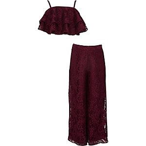 Ensemble avec pantalon palazzo en dentelle rouge foncé à volants pour fille