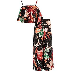 Zwarte cami en palazzo met bloemenprint voor meisjes