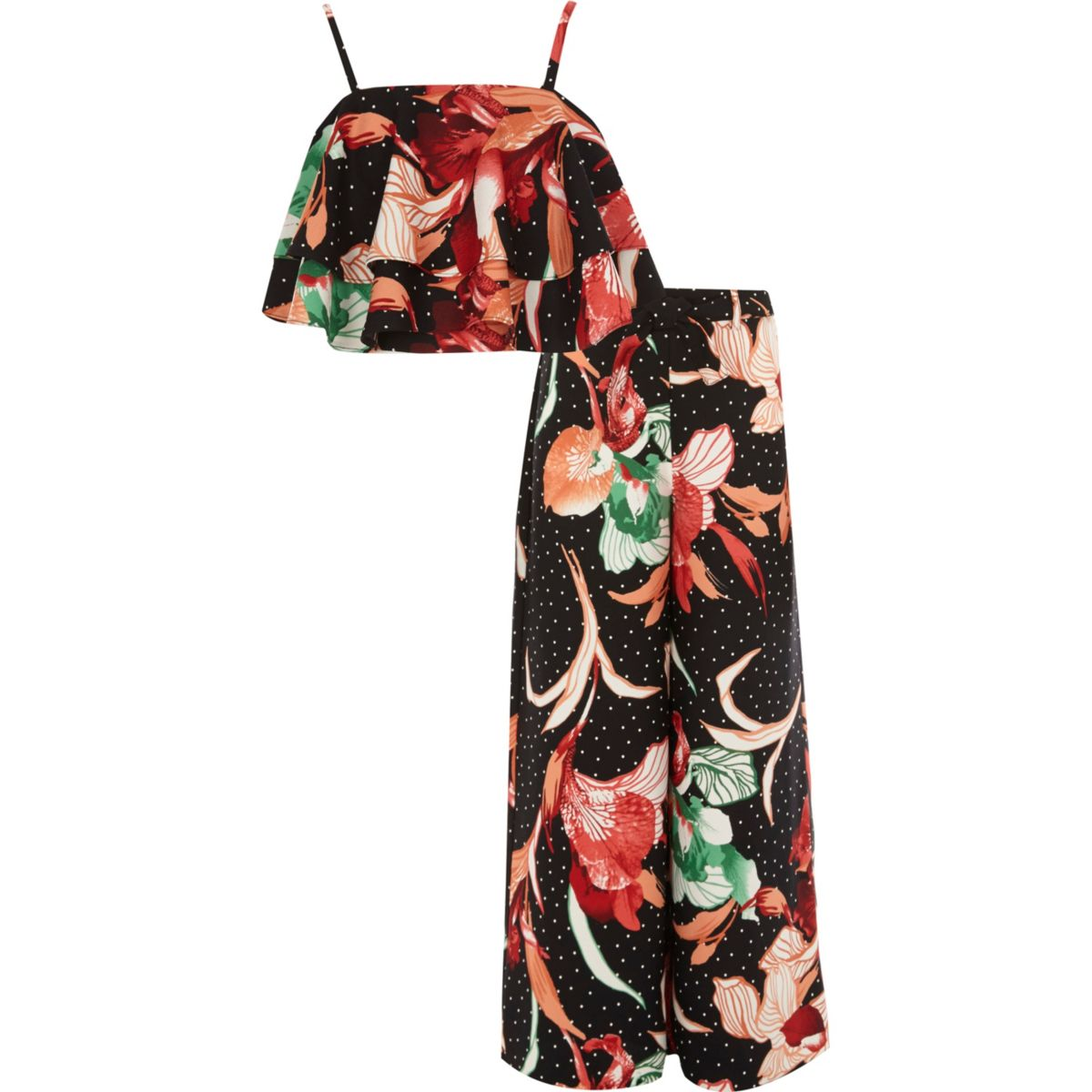 Girls black floral cami and palazzo outfit