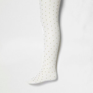 Girls cream glitter polka dot tights