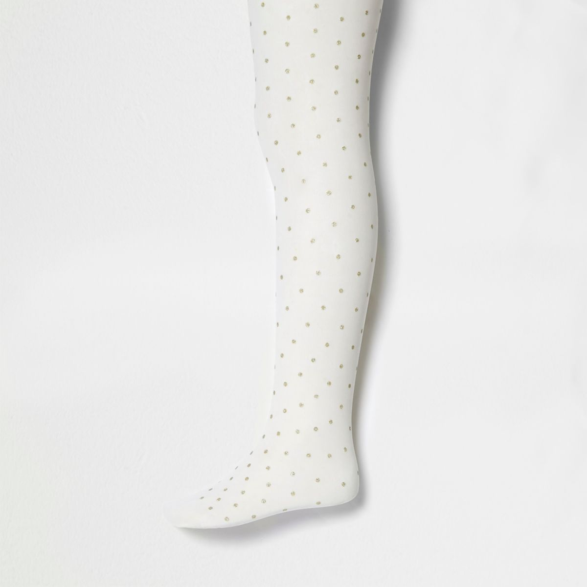 Girls cream glitter polka dot tights