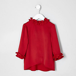 Mini girls red satin ruffle trim top
