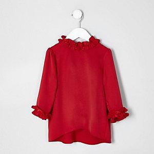 Mini girls red satin ruffle trim top