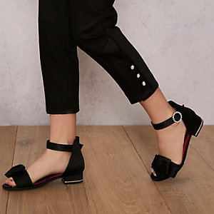 Girls black RI Studio bow satin sandals