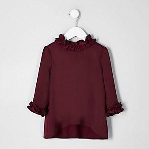 Mini girls burgundy satin ruffle trim top