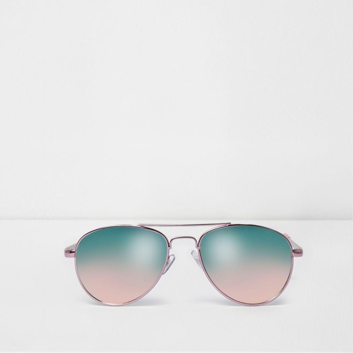 Lunettes de soleil aviateur roses pour fille