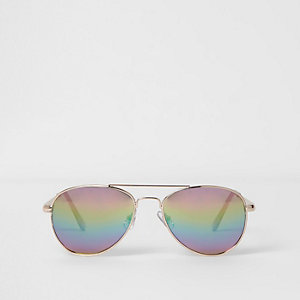 Girls rainbow lenses aviator sunglasses