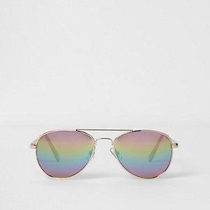 Pilotenzonnebril met regenboogglazen voor meisjes