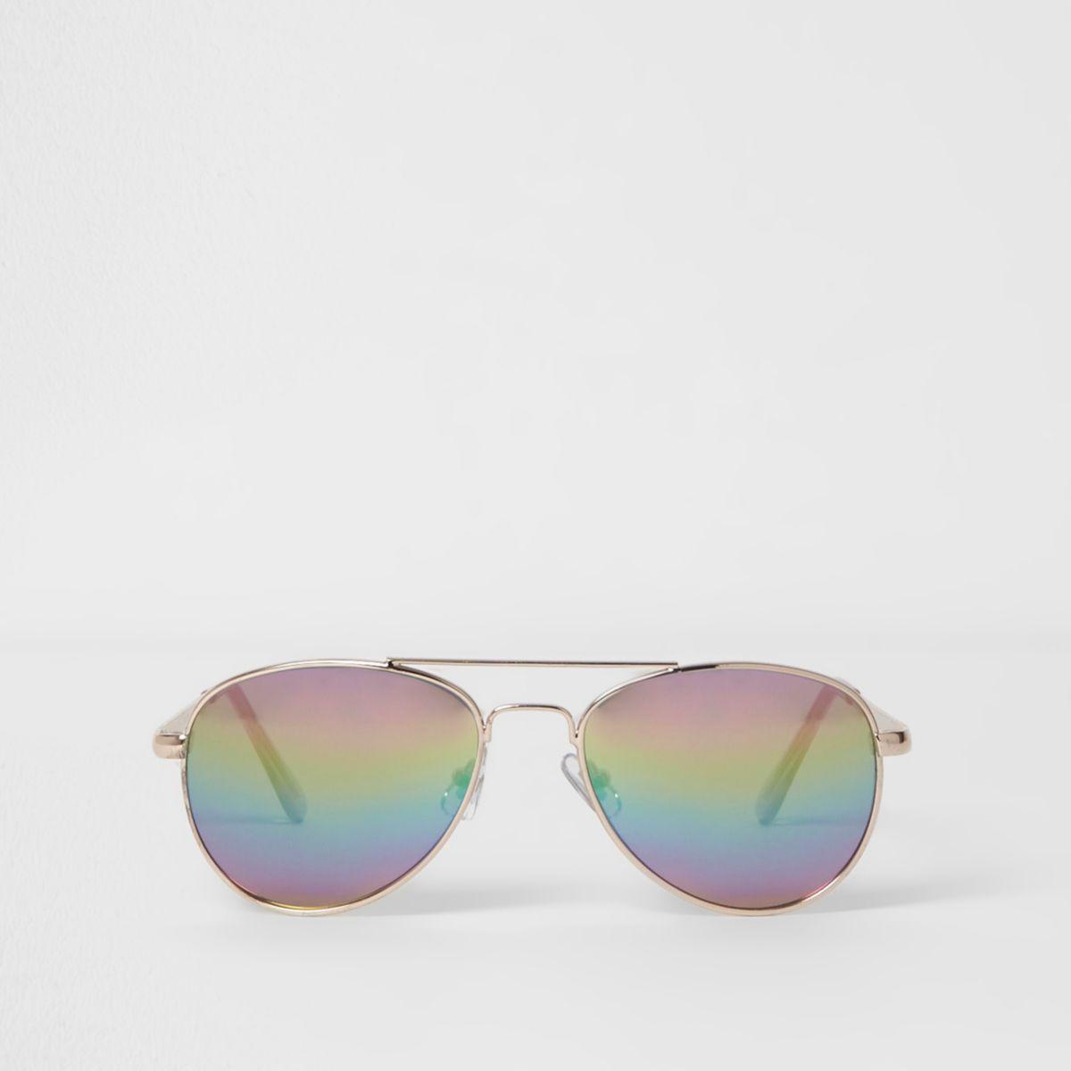 Girls rainbow lenses aviator sunglasses