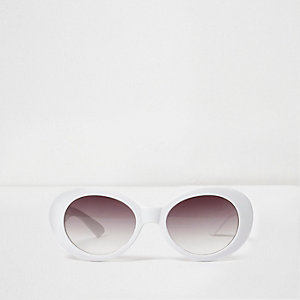 Girls white oval retro style sunglasses
