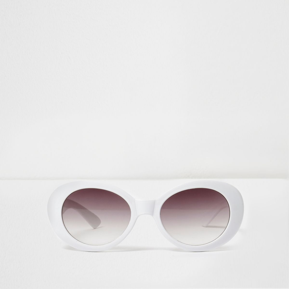 Girls white oval retro style sunglasses