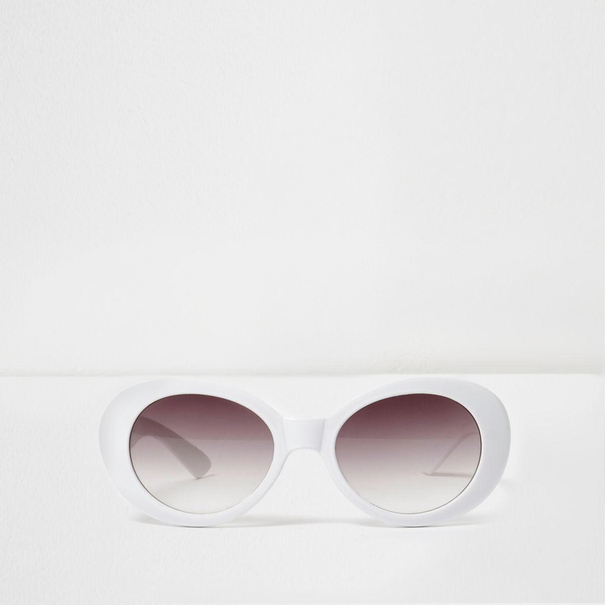 Lunettes de soleil blanches rétro ovales pour fille