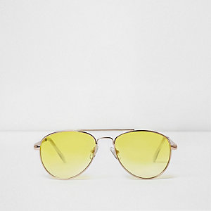 Girls yellow lens aviator sunglasses