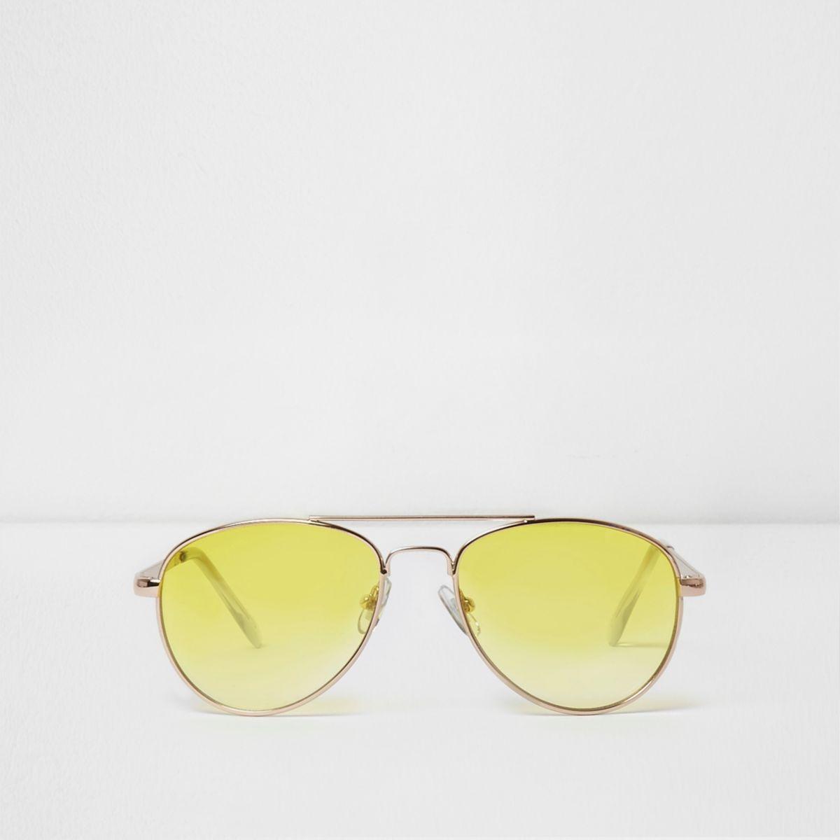 Girls yellow lens aviator sunglasses