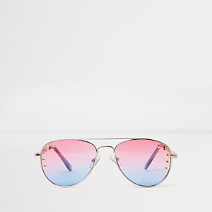 Pinke und blaue Pilotensonnenbrille mit Nietenverzierung