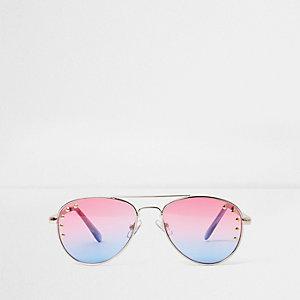 Pilotenzonnebril met roze/blauwe glazen en studs voor meisjes
