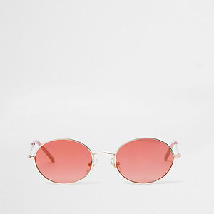 Girls red tinted oval retro sunglasses