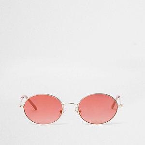 Retro zonnebril met rood getinte ovalen glazen voor meisjes