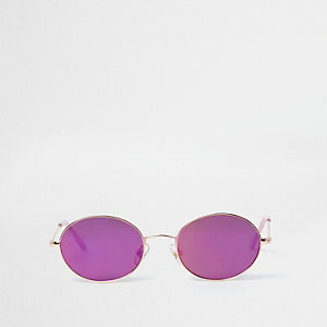 Girls pink tinted oval retro sunglasses